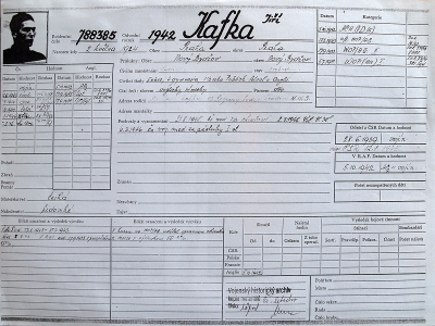 Registration sheet of the soldier of the Czechoslovak exile army