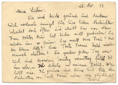 Postcard from from Terezín to O. Weisz, November 26, 1943