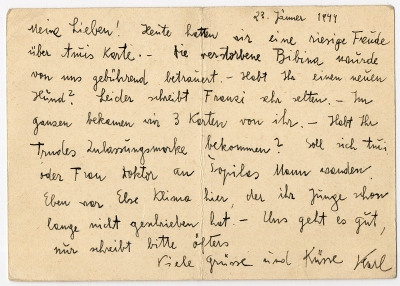 Postcard from from Terezín to O. Weisz, January 23, 1944
