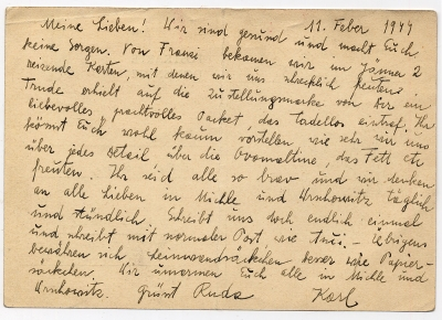 Postcard from from Terezín to O. Weisz, February 11, 1944
