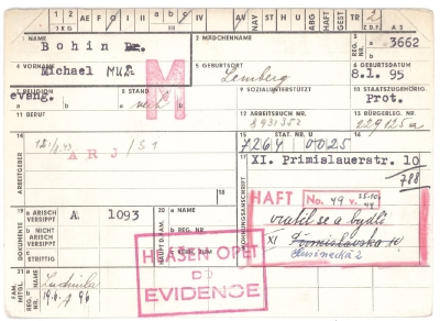Dr. Bohin's registration card
