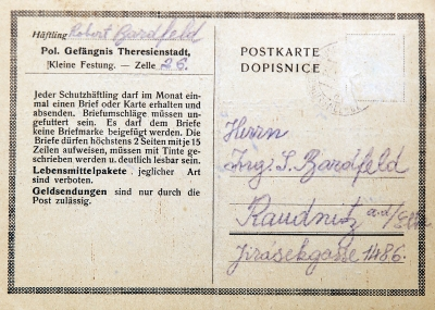 Postcard to his parents before arrival from Terezín