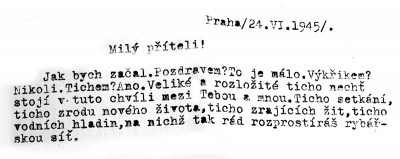 Welcome letter from his classmate Zdeněk (June 1945)