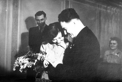 Wedding day of Robert and Zdenka January 4, 1951