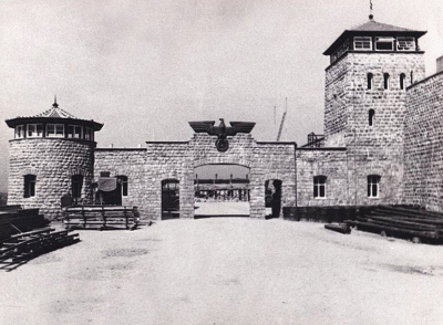 The gate of the Mauthausen camp